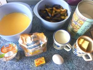 Pflaumenkuchen-Zutaten