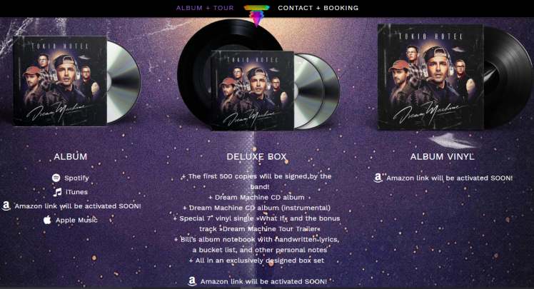 Tokio Hotel Dream Machine Packages