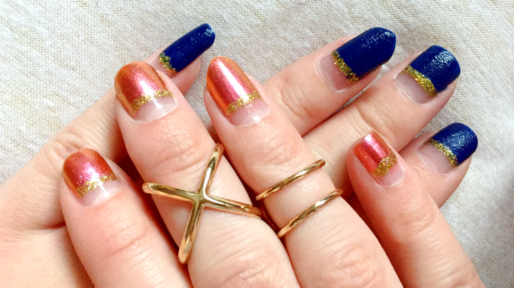 Silvester Nailart blau rosegold